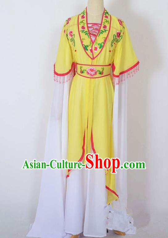 Traditional Chinese Professional Peking Opera Young Lady Costume Embroidery Yellow Dress, China Beijing Opera Diva Hua Tan Water Sleeve Clothing