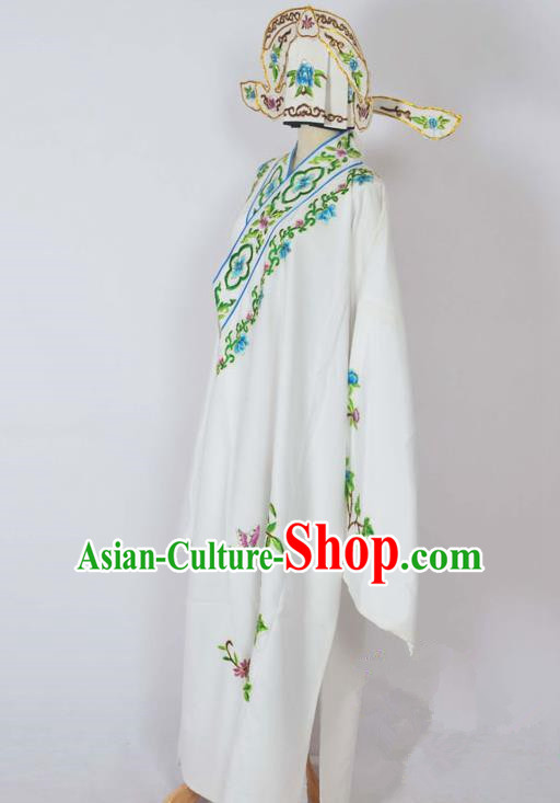 Traditional Chinese Professional Peking Opera Young Men Costume, China Beijing Opera Niche Gifted Scholar Embroidery White Robe Clothing