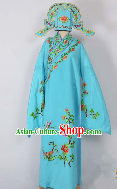 Traditional Chinese Professional Peking Opera Young Men Costume, China Beijing Opera Niche Gifted Scholar Embroidery Blue Robe Clothing