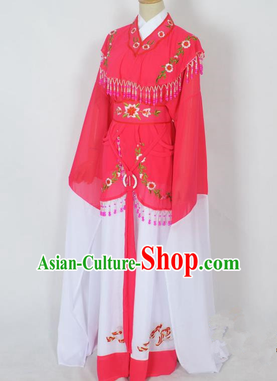 Traditional Chinese Professional Peking Opera Young Lady Jordan-Sitting Costume Rosy Embroidery Dress, China Beijing Opera Diva Hua Tan Embroidered Princess Clothing