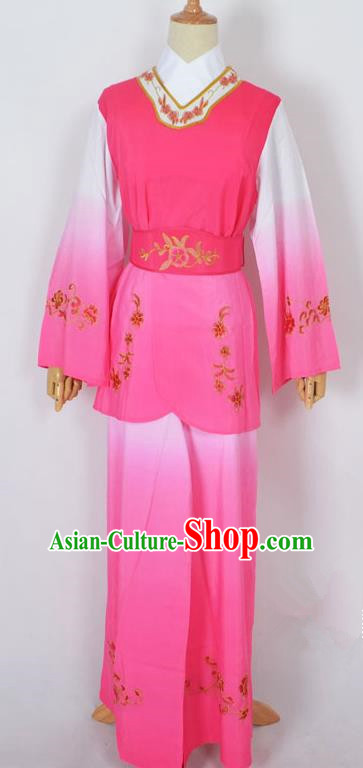 Traditional Chinese Professional Peking Opera Jordan-Sitting Maidservants Pink Costume, China Beijing Opera Diva Hua Tan Palace Lady Embroidered Clothing