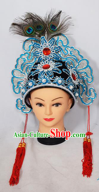 Traditional Handmade Chinese Classical Peking Opera Blues Accessories Hat, China Beijing Opera Swordplay Warriors Headwear