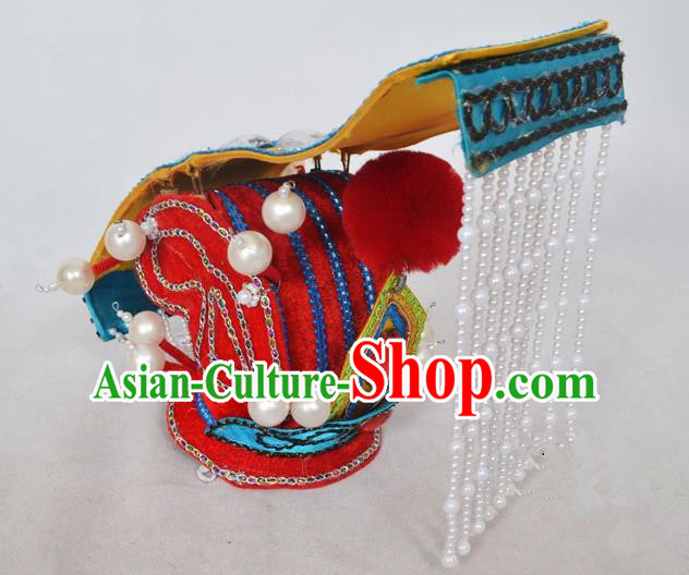 Traditional Handmade Chinese Classical Peking Opera Emperor Accessories Red Hat, China Beijing Opera King Headwear