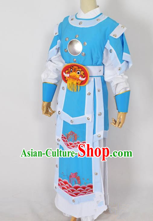 Traditional Chinese Professional Peking Opera Takefu General Blue Costume, China Beijing Opera Martial Arts Warrior Embroidered Clothing