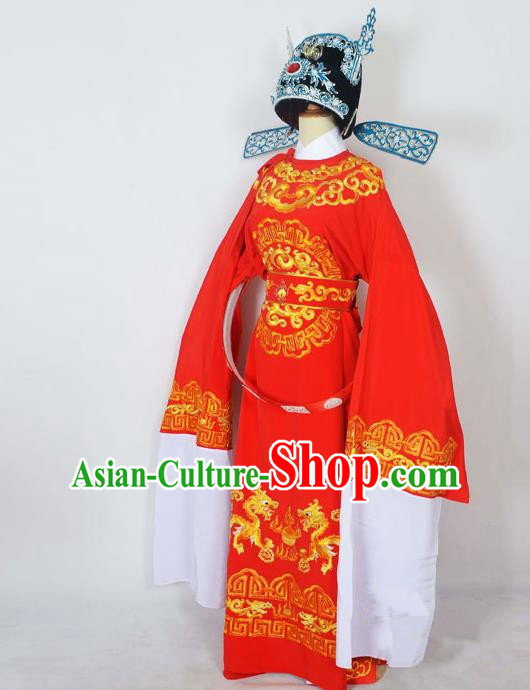 Traditional Chinese Professional Peking Opera Emperor Female Son-in-law Costume Red Embroidered Robe and Hat, China Beijing Opera Niche Embroidered Clothing