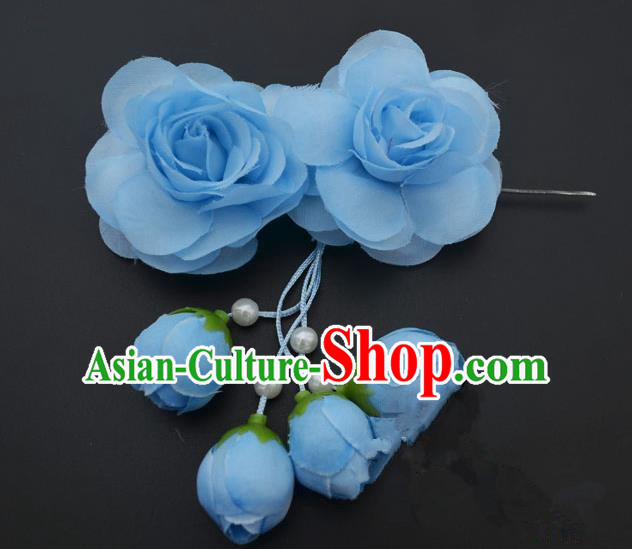Traditional Handmade Chinese Classical Peking Opera Young Lady Hair Accessories Blue Temples Flowers, China Beijing Opera Princess Headwear Tassel Hairpins