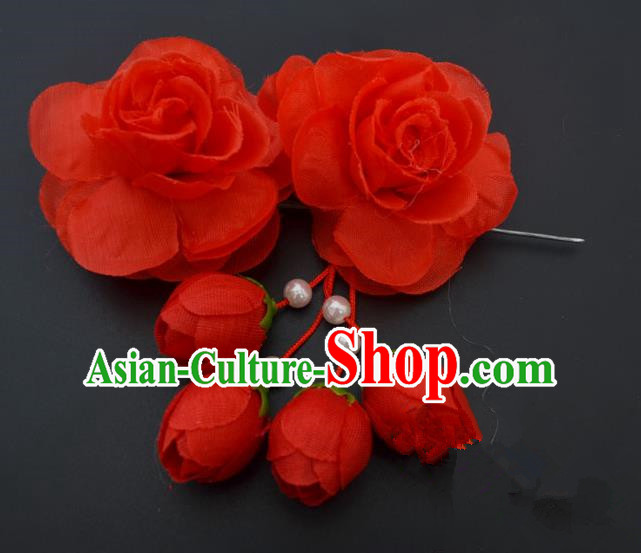 Traditional Handmade Chinese Classical Peking Opera Young Lady Hair Accessories Red Temples Flowers, China Beijing Opera Princess Headwear Tassel Hairpins