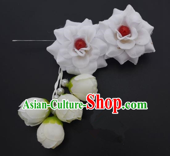 Traditional Handmade Chinese Classical Peking Opera Young Lady Hua Tan Hair Accessories White Temples Flowers, China Beijing Opera Diva Princess Headwear Tassel Hairpins