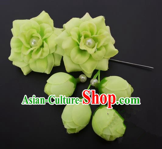 Traditional Handmade Chinese Classical Peking Opera Young Lady Hua Tan Hair Accessories Green Temples Flowers, China Beijing Opera Diva Princess Headwear Tassel Hairpins
