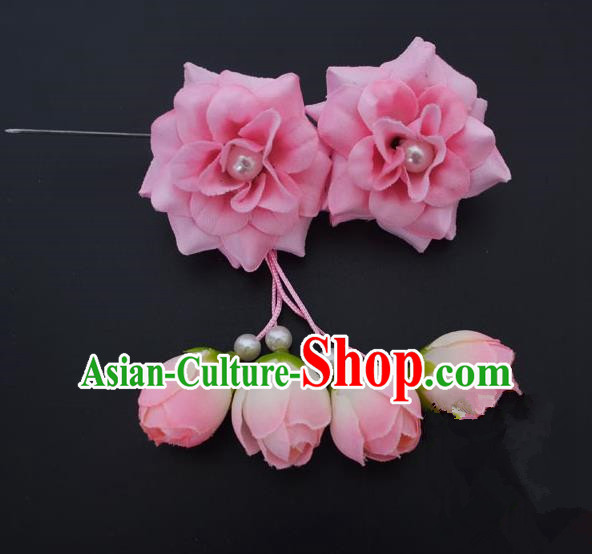 Traditional Handmade Chinese Classical Peking Opera Young Lady Hua Tan Hair Accessories Pink Temples Flowers, China Beijing Opera Diva Princess Headwear Tassel Hairpins