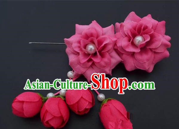 Traditional Handmade Chinese Classical Peking Opera Young Lady Hua Tan Hair Accessories Rosy Temples Flowers, China Beijing Opera Diva Princess Headwear Tassel Hairpins