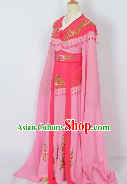 Traditional Chinese Professional Peking Opera Young Lady Costume Pink Embroidery Dress, China Beijing Opera Diva Hua Tan Embroidered Clothing