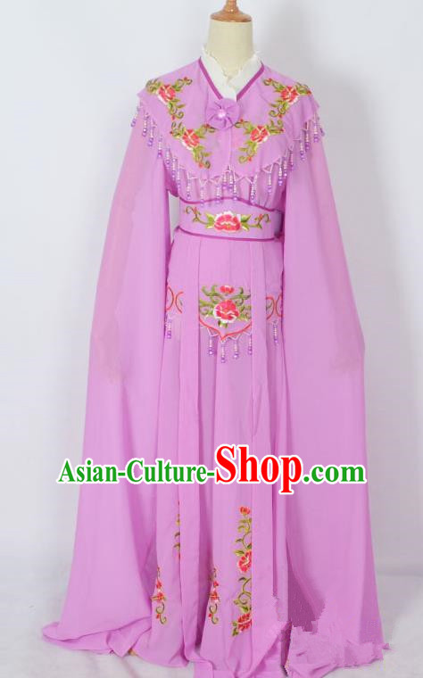 Traditional Chinese Professional Peking Opera Young Lady Costume Purple Embroidery Dress, China Beijing Opera Diva Hua Tan Embroidered Clothing