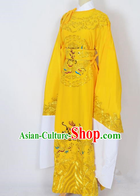 Traditional Chinese Professional Peking Opera Lang Scholar Costume Yellow Embroidery Robe, China Beijing Opera Niche Embroidered Robe Clothing