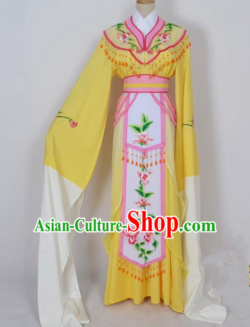 Traditional Chinese Professional Peking Opera Diva Young Lady Princess Water Sleeve Costume Yellow Embroidery Dress, China Beijing Opera Hua Tan Embroidered Clothing