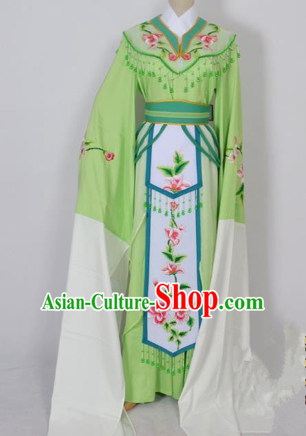 Traditional Chinese Professional Peking Opera Diva Young Lady Princess Water Sleeve Costume Green Embroidery Dress, China Beijing Opera Hua Tan Embroidered Clothing
