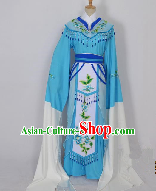 Traditional Chinese Professional Peking Opera Diva Young Lady Princess Water Sleeve Costume Blue Embroidery Dress, China Beijing Opera Hua Tan Embroidered Clothing
