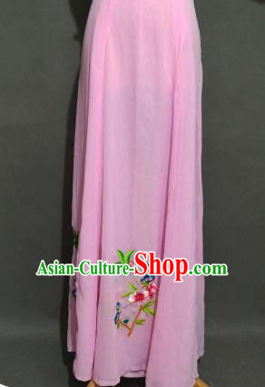 Traditional Chinese Professional Peking Opera Young Women Costume Pink Half Dress, China Beijing Opera Diva Hua Tan Embroidered Bust Skirt Clothing