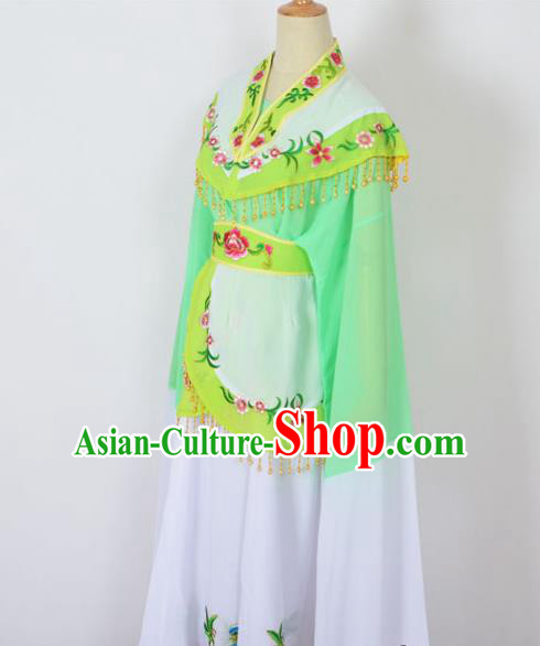 Traditional Chinese Professional Peking Opera Young Women Costume Green Cloud Shoulder Dress, China Beijing Opera Diva Hua Tan Embroidered Clothing