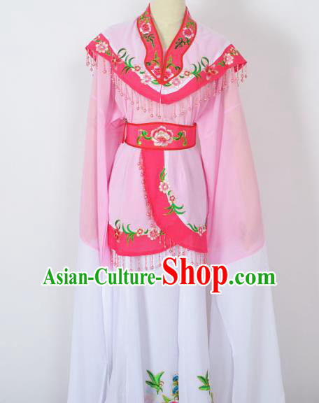 Traditional Chinese Professional Peking Opera Young Women Costume Pink Cloud Shoulder Dress, China Beijing Opera Diva Hua Tan Embroidered Clothing