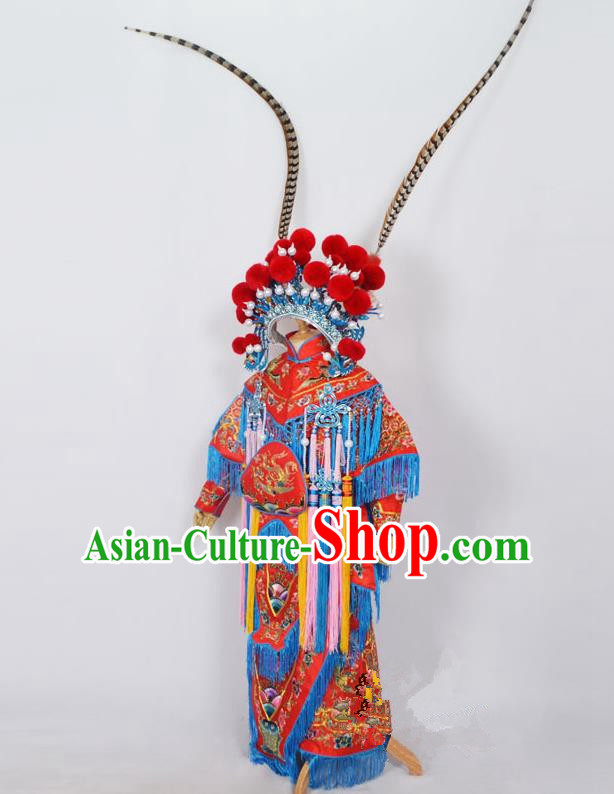 Traditional Chinese Professional Peking Opera Female General Red Costume, Children China Beijing Opera Swordplay Embroidered Clothing and Headwear Complete Set