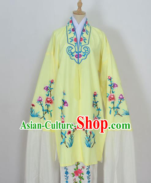 Traditional Chinese Professional Peking Opera Young Lady Costume Light Yellow Embroidery Mantel, China Beijing Opera Diva Hua Tan Embroidered Dress Clothing