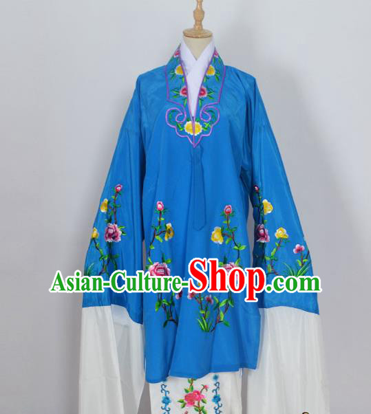 Traditional Chinese Professional Peking Opera Young Lady Costume Blue Embroidery Mantel, China Beijing Opera Diva Hua Tan Embroidered Dress Clothing