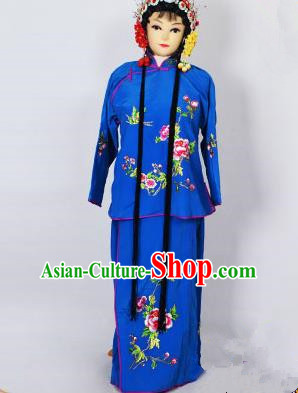 Traditional Chinese Professional Peking Opera Jordan-Sitting Costume Deep Blue Embroidery Dress, Children China Beijing Opera Diva Hua Tan Embroidered Maidservants Clothing