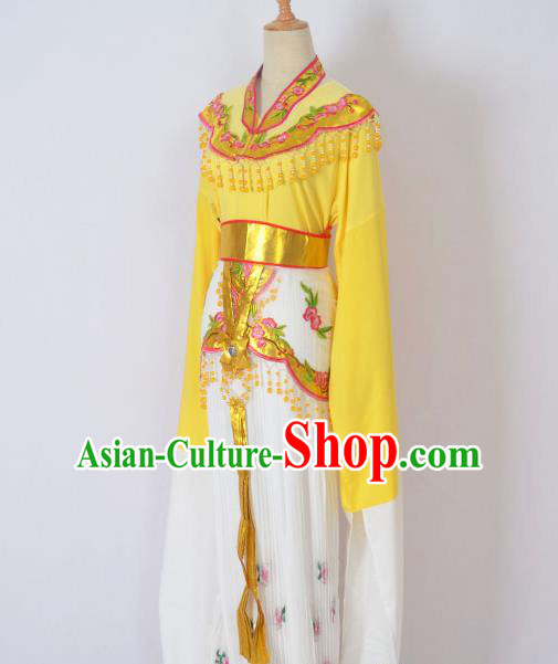 Traditional Chinese Professional Peking Opera Huangmei Opera Young Lady Princess Costume Yellow Embroidery Dress, China Beijing Opera Diva Hua Tan Embroidered Clothing
