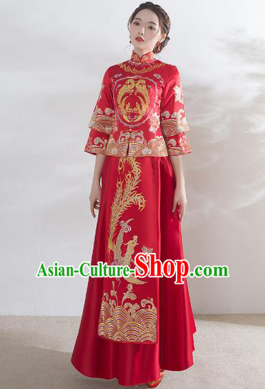 Traditional Ancient Chinese Wedding Costume Xiuhe Suits, Chinese Style Wedding Dress Red Restoring Longfeng Dragon and Phoenix Flown Bride Toast Cheongsam for Women