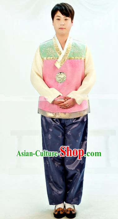 Traditional South Korean Handmade Hanbok Embroidery Clothing, Top Grade Korea Hanbok Costume Complete Set for Men