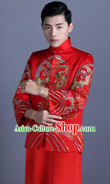 Ancient Chinese Costume Chinese Style Wedding Dress Ancient Embroidery Dragon and Phoenix Flown Groom Toast Clothing Mandarin Jacket For Men