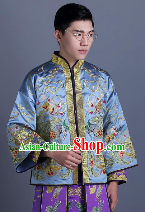 Ancient Chinese Costume Chinese Style Wedding Dress Ancient Embroidery Dragon and Phoenix Blue Flown Groom Toast Clothing Mandarin Jacket For Men
