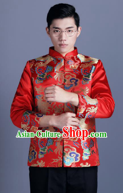 Ancient Chinese Costume Chinese Style Wedding Dress Ancient Embroidery Dragon and Phoenix Shirt, Groom Toast Clothing Mandarin Jacket For Men