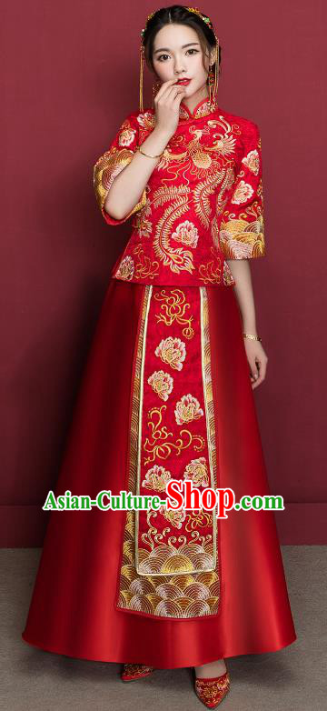 Traditional Ancient Chinese Wedding Costume Embroidery Peony Xiuhe Suits, Chinese Style Wedding Dress Red Restoring Longfeng Dragon and Phoenix Flown Bride Toast Cheongsam for Women