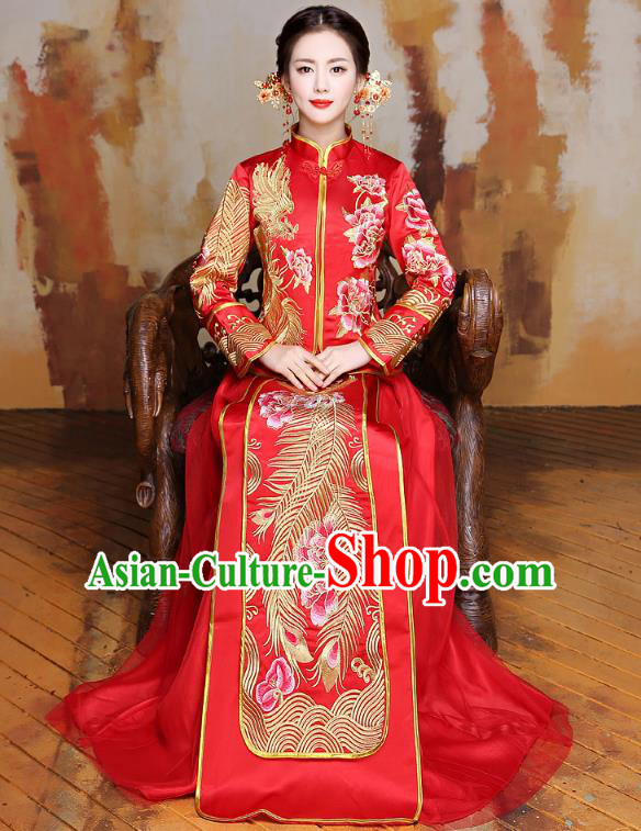 Traditional Ancient Chinese Wedding Costume Handmade XiuHe Suits Embroidery Peony Longfeng Gown Bride Toast Slim Cheongsam Dress, Chinese Style Hanfu Wedding Clothing for Women