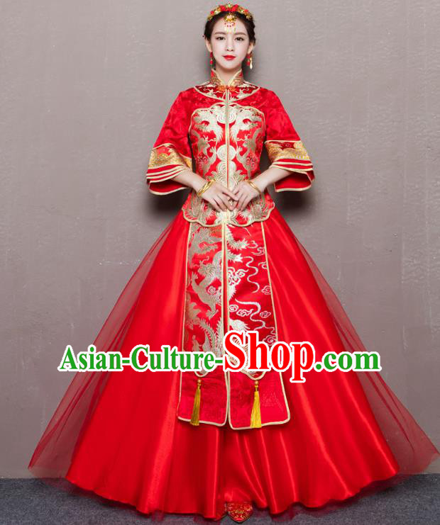 Traditional Ancient Chinese Wedding Costume Handmade Delicacy Embroidery Red Veil Dress Xiuhe Suits, Chinese Style Wedding Flown Bride Toast Cheongsam for Women
