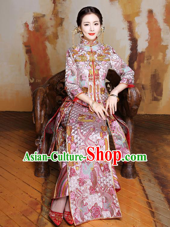 Traditional Ancient Chinese Wedding Costume Handmade Delicacy Embroidery Longfeng Flown Dress Xiuhe Suits, Chinese Style Wedding Flown Bride Toast Cheongsam for Women