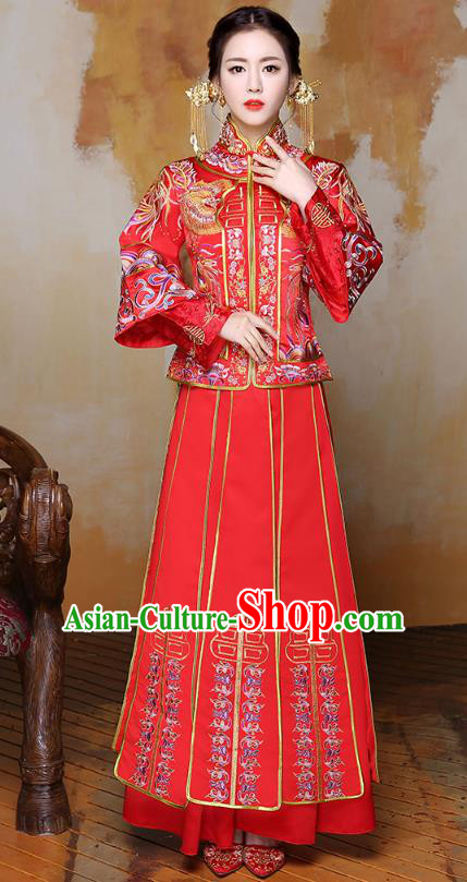 Traditional Ancient Chinese Wedding Costume Handmade Delicacy Full Embroidery Phoenix Peony Red XiuHe Suits, Chinese Style Hanfu Wedding Bride Toast Cheongsam for Women