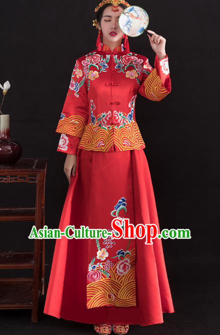 Traditional Ancient Chinese Wedding Costume Handmade Delicacy Full Embroidery Peony Red XiuHe Suits, Chinese Style Hanfu Wedding Bride Toast Cheongsam for Women