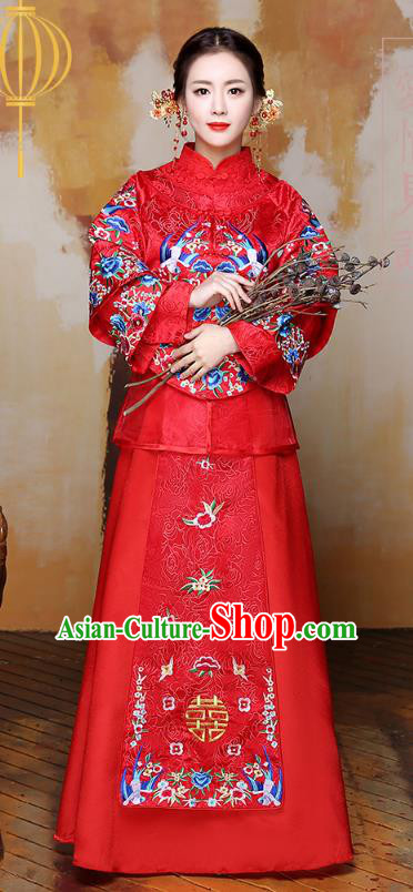 Traditional Ancient Chinese Wedding Costume Handmade Delicacy Embroidery Birds Bride XiuHe Suits Red Full Dress, Chinese Style Hanfu Wedding Toast Cheongsam for Women