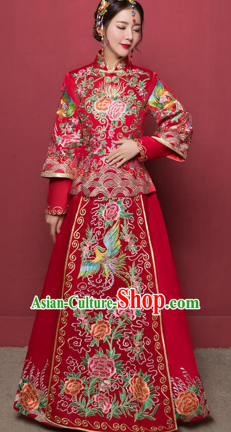 Traditional Ancient Chinese Wedding Costume Handmade Delicacy Embroidery Phoenix Peony XiuHe Suits, Chinese Style Hanfu Wedding Toast Cheongsam for Women