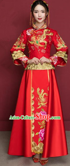 Traditional Ancient Chinese Wedding Costume Handmade Delicacy XiuHe Suits Embroidery Peony Long Sleeve Cheongsam Palace Bottom Drawer, Chinese Style Hanfu Wedding Bride Hanfu Clothing for Women