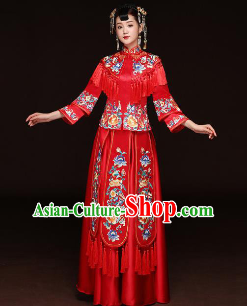Traditional Ancient Chinese Wedding Costume Handmade Delicacy XiuHe Suits Embroidery Peony Palace Trailing Bottom Drawer Cheongsam Dress, Chinese Style Hanfu Wedding Bride Hanfu Clothing for Women