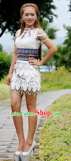 Traditional Chinese Miao Nationality Dance Costume, Hmong Female Folk Dance Ethnic White Short Pleated Skirt, Chinese Minority Nationality Embroidery Costume for Women