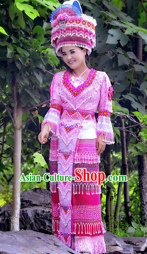 Traditional Chinese Miao Nationality Wedding Costume and Hat, Hmong Young Lady Bride Folk Dance Ethnic Tassel Skirt, Chinese Minority Nationality Embroidery Clothing for Women