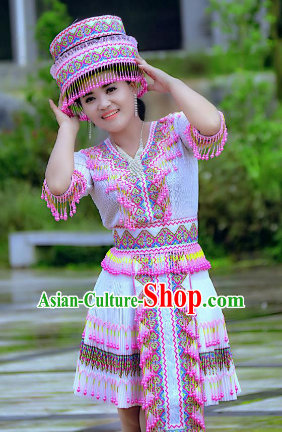 Traditional Chinese Miao Nationality Wedding Costume and Hat, Hmong Young Lady Folk Dance Ethnic Blue Pleated Skirt, Chinese Minority Nationality Embroidery Clothing for Women