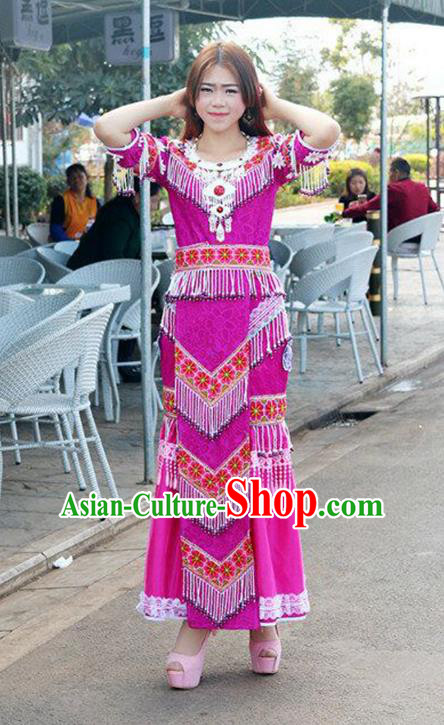 Traditional Chinese Miao Nationality Wedding Bride Costume Rosy Tassel Long Pleated Skirt, Hmong Folk Dance Ethnic Chinese Minority Nationality Embroidery Clothing for Women