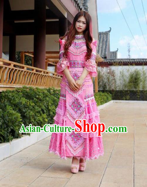 Traditional Chinese Miao Nationality Wedding Costume Embroidered Pink Tassel Long Pleated Skirt and Hat, Hmong Folk Dance Ethnic Chinese Minority Nationality Embroidery Clothing for Women