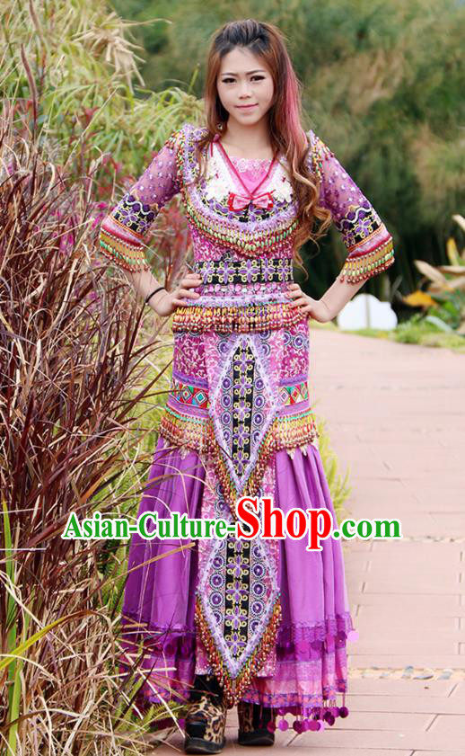 Traditional Chinese Miao Nationality Wedding Costume Embroidered Purple Long Beads Pleated Skirt, Hmong Folk Dance Ethnic Chinese Minority Nationality Embroidery Clothing for Women